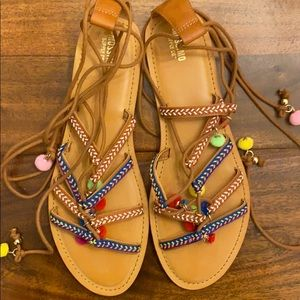 Lace up, ankle tie sandals size 10